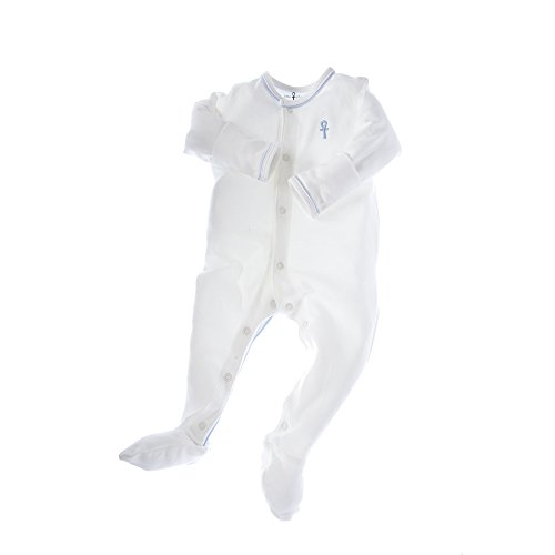 little pharo 100% Extra-Long Staple Egyptian Cotton Footed One-Piece Bodysuit (ivory with blue piping, size 6-12 months)