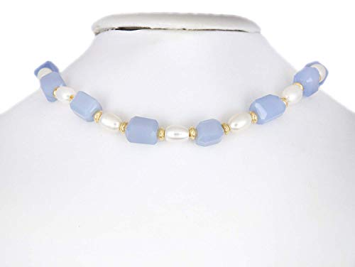 Blue Chalcedony Nuggets and White Large Hole Pearl Choker with 14K Yellow Gold Saucer Beads, LLD -