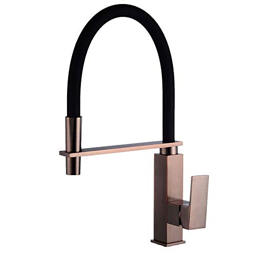 (ORB Brass Kitchen Sink Mixer Taps-Single Lever Single Hole Pull Down Square Spring Rotating)