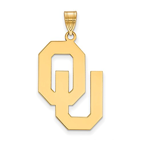 Oklahoma Extra Large (1 Inch) Pendant (14k Yellow Gold) by LogoArt