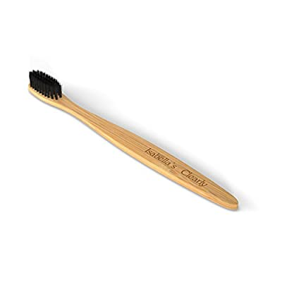 Isabella's Clearly BAMBOO Toothbrush, Gentle Soft Charcoal Infused Nylon BPA-Free Bristles, Eco-Friendly, Biodegradable. Natural Organic Materials Good for Teeth & Earth. Adults & Kids