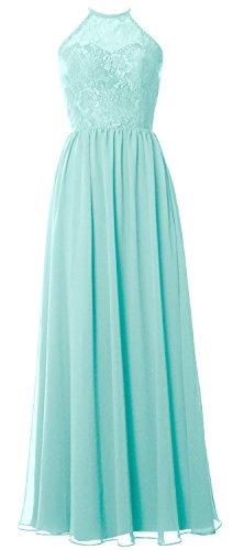MACloth Women Halter Long Bridesmaid Dress 2017 Lace Wedding Party Formal Gown Aqua