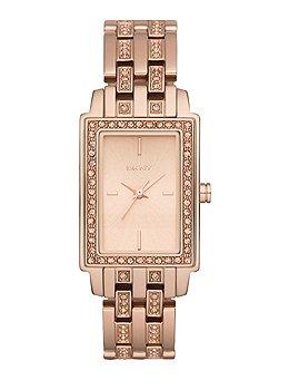 DKNY Women's Crystal Detailed Rose Gold Rectangular Bracelet Watch - NY8625