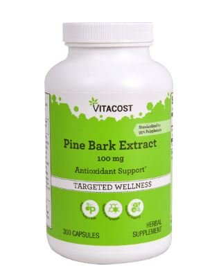 Inner Bark 100 Capsules - Vitacost Pine Bark Extract - Standardized to 95% OPC -- 100 mg - 300 Capsules