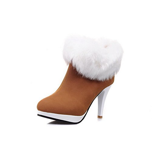 45e6e8c4bf4 AllhqFashion Women s High-Heels Frosted Ankle-high Solid Pull-on Boots on  sale