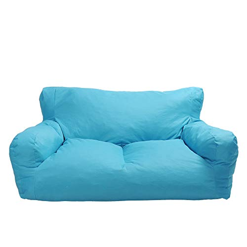 LUCKYERMORE Blue Bean Bag Chair Kids Self-Inflated Sponge Stuffed Beanless Dorm Chair for Adults,Double Seats Sofa Lounger Couch Furniture for Indoor and Outdoor (Best Bean Bag Couch)