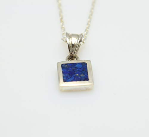 Square Lapis Lazuli Gemstone Mosaic Sterling Silver Necklace 16.1