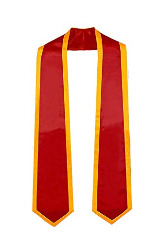 GraduationMall Plain Graduation Honor Stole Classic End Red With Gold Trim Unisex Adult 60