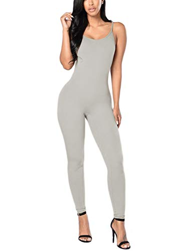 Amilia Womens Spaghetti Strap Bodycon Tank One Piece Jumpsuits Rompers Playsuit (M, Grey)