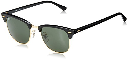 Ray-Ban RB3016 Clubmaster Square Sunglasses, Black/Polarized Green, 51 mm (Ray-ban Rb3016 Clubmaster)