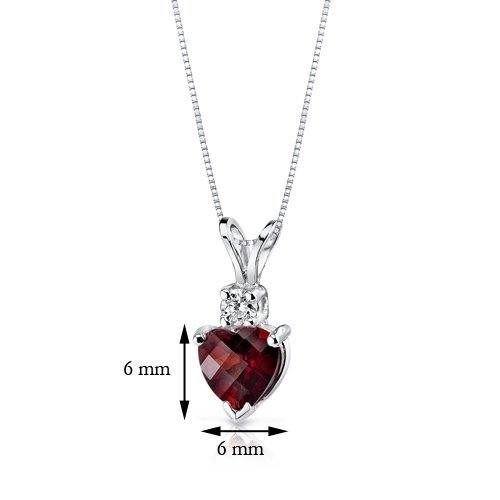Or blanc 14carats en forme de cœur 1,50carats Grenat-Diamant