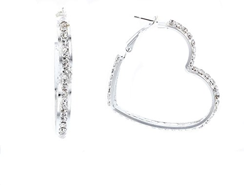 Large Studded Heart Earrings (Sophia Collection Women's Heart Shaped Crystal Studded Hoop Earrings, 1.75