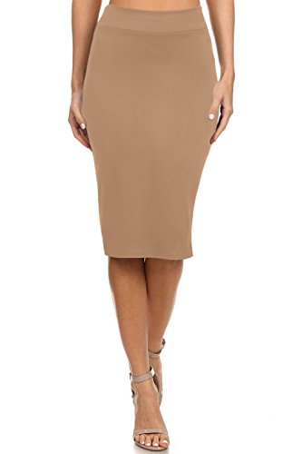 Simlu Women's Below The Knee Pencil Skirt For Office Wear - Made In USA Khaki X-Large