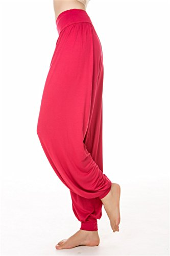 Yoga Loose per Fit Spandex Modal Pilates SIMYJOY o morbido Leggings Purple Pantaloni donna Red da e Lunghi zgxwP7