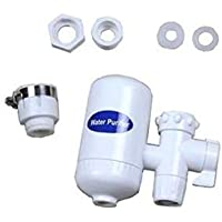 Kitchen tap water filter with cleanable ceramic design hung on mixer