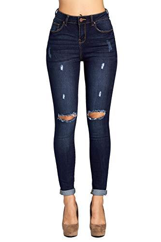 ICONICC Women's Butt Lifting Denim Ripped Skinny Jeans,Jp1083ct_dark Wash,9