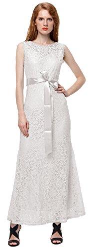 U-shot Vestidos Para Mujer Floral de Encaje Elegante Noche Vestido Largo Blanco