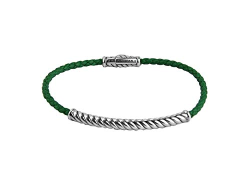 (David YURMAN ST.Silver Green Leather Cable Metro Bracelet Size M 48B, WE Ship Same Day )