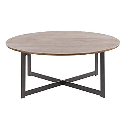 Amazon Com Wood Coffee Table With Metal Legs Round Coffee Table
