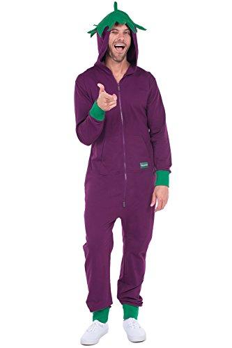 Tipsy Elves Men's Purple Eggplant Jumpsuit - Eggplant Halloween Costume: XX-Large