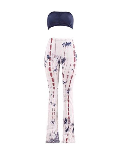 Gamba Dye Stile Larga Stretch Stampa Pantaloni Senza Pantaloni E Spalline Pezzi Donna Top Due Tie Reggiseno E 9 Sportivo Zhiyuanan UxXw461qy