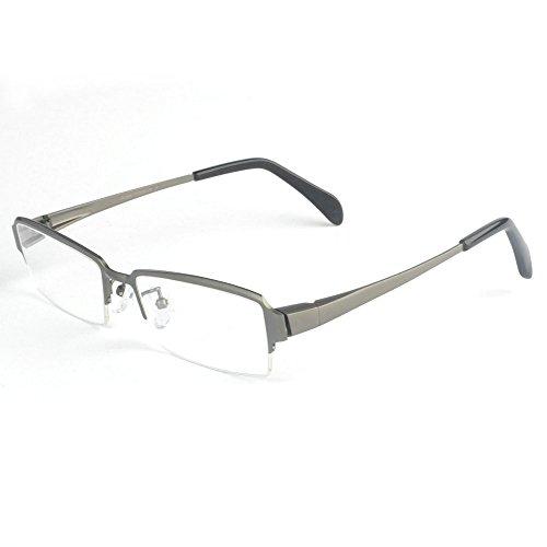 MINCL/Pure Titanium Half Rimless Business Glasses Frame Eyeglasses (gun, -