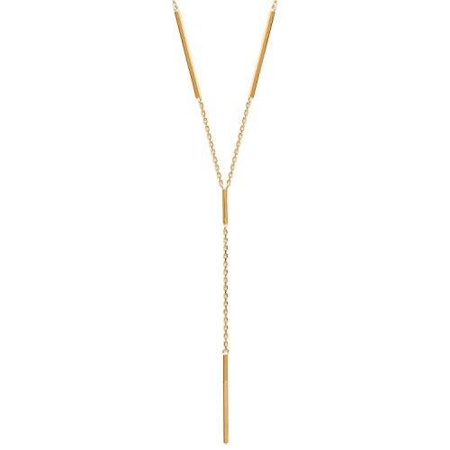 Collier Chaine en Plaqué Or - Alternance Chaine et Barre - Pendant 7,5cm