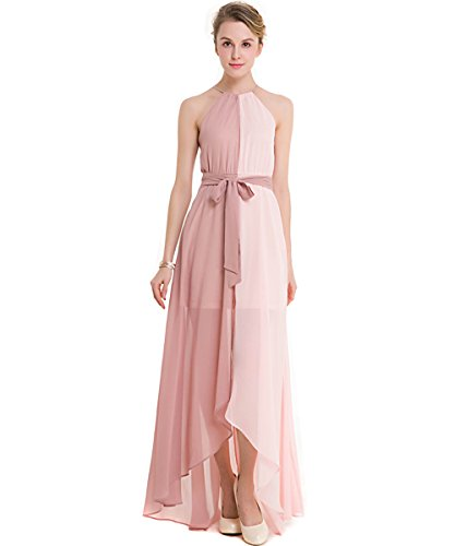 KAXIDY Mujer Vestido Largo de Noche Gasa Elegante Vestido de Bola Vestido de Fiesta Vestidos Playa Rosa