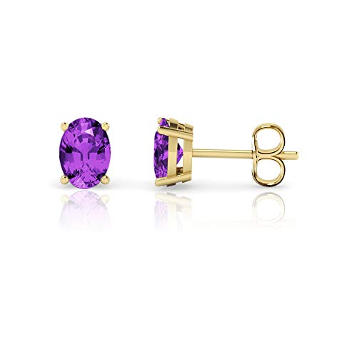 Gold Oval Amethyst Earrings - 14K Yellow Gold Oval Cut Genuine Amethyst Stud Earrings (7x5mm)