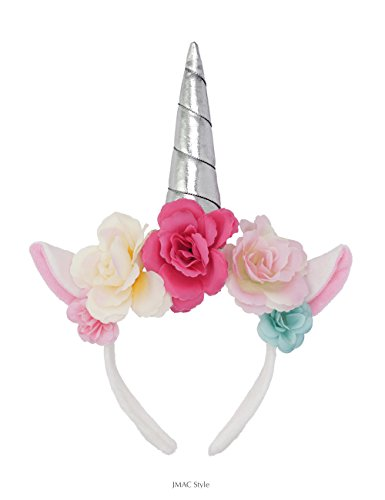 Unicorn Headband, Hawaii Tropical Style, Silver Horn, Pink Blue Burgandy Rose Flower, for Birthday Party Decoration or Cosplay Costume for Girls and Adults ()