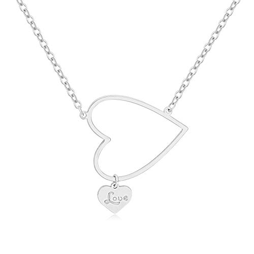 (SENFAI Custom Initial Aleph Name Love Heart Pendant Necklace 18