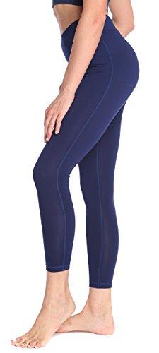 SILKWORLD Women's Power Flex Yoga Pants with Pockets Workout Leggings Navy blue US Large