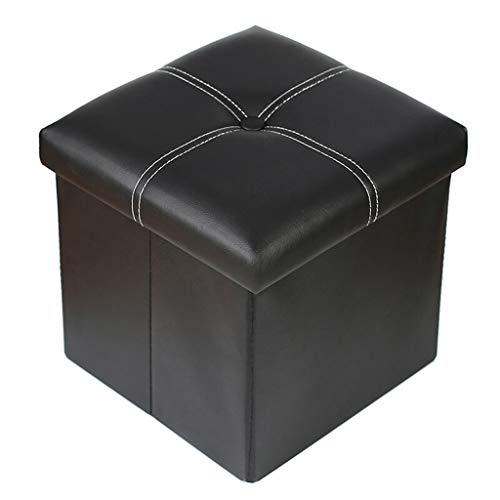 MMZX Storage Stool, Multi-Function Storage Box, Foldable Leather Footrest, Square (Footrest Pouffe)