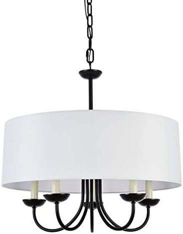 A1A9 Modern 5-Light Drum Pendant Light Fixture, 21 White Fabric Shade, Simple Chain Hanging Ceiling Lights, Black Chandelier Fitting for Entryway, Hallway, Dining Room and Foyer
