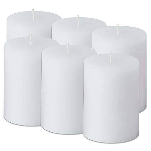 Simplicité Pillar Candles Unscented Set of 6 by in White Colour 3 inch by 4 inch | Hand-Poured Candles with Finest Wax Blend and German Cotton Wicks | Burn Time Upto 50 Hours