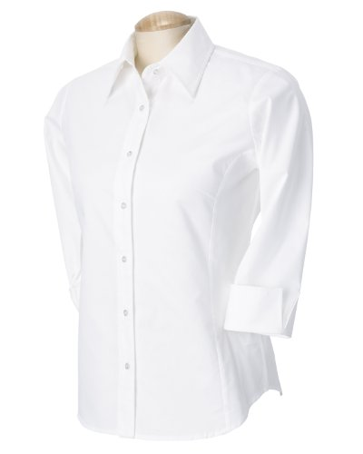 Devon & Jones Ladies' Three-Quarter Sleeve Stretch Poplin Blouse L White (Shirt Poplin Stretch Spandex)