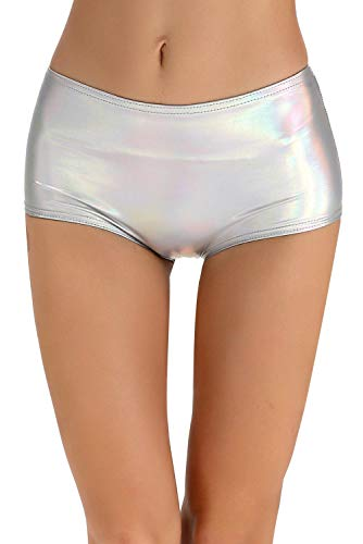 - NIliker Women's High Waisted Leather Metallic Shiny Shorts (Large, Multicolor Silver)