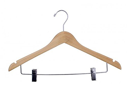 NAHANCO 7117RCCH Ladies Wooden Suit Hanger, Concave with Chrome Hardware, Natural Lacquered Finish, 17'' (Pack of 100) by NAHANCO