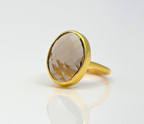 Smokey Quartz ring, stackable ring, Vermeil Gold or silver, bezel set ring, oval ring, Smoky quartz ring, Birthstone ring, statement ring (Smokey Quartz Ring Oval)