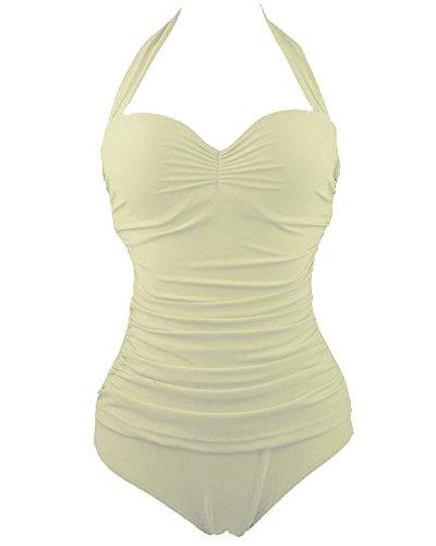 Traje De Baño Bikini De Una Pieza Para Mujer-Ropa De Playa Ropa De Baño Tankini Albaricoque claro
