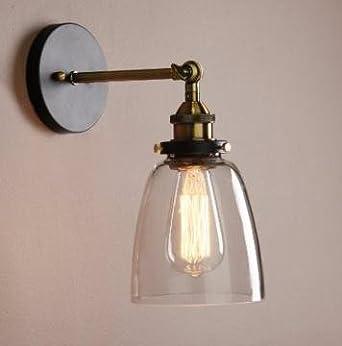 Unimall Applique Murale Verre Industrielle 40W Lampe Rétro Décoration  d\'intérieur Luminare Vintage Réglable en Métal Pour Chambre Escalier Salon  ...