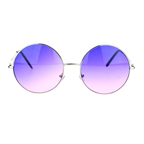 Hippie Retro Groovy Gradient Oversize Circle Lens Round Lennon Sunglasses (Purple Circle)
