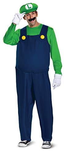 Disguise Men's Luigi Deluxe Adult Costume, Green,