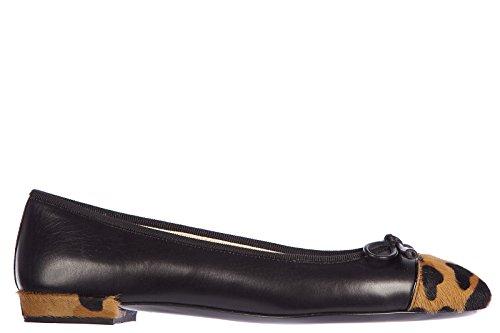 Prada-womens-leather-ballet-flats-ballerinas-animalier-black