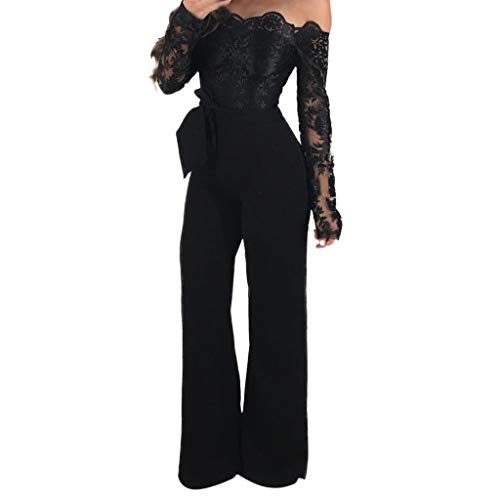 TTINAF Women Off Shoulder Jumpsuits - Lace Long Sleeve Wide Leg Long Pants Rompers with Belt Casual Party Playsuit (Black, M) (Dress In All Black Like The Omen)