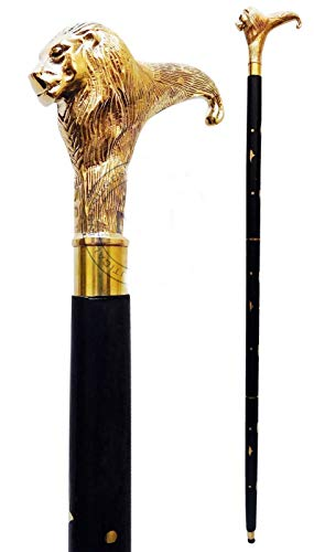 Brass Walking Stick Solid Vintage Designer Lion Head Wooden Cane Antique Style (Designer Antique Brass)