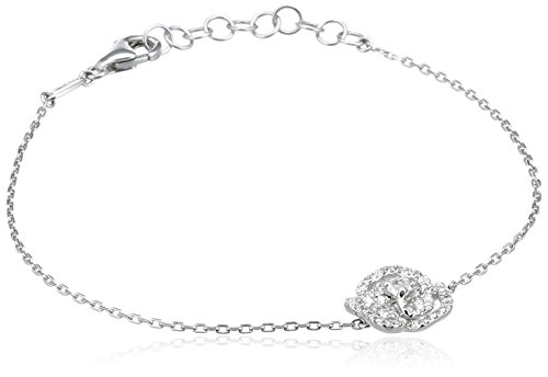 AS29 Bracelet Or Blanc Ronde Diamant Transparent Femme