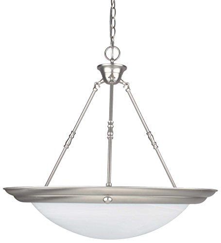 Sunset Lighting F7680-10 Pendant with Faux Alabaster Glass, Polished Brass Finish ()