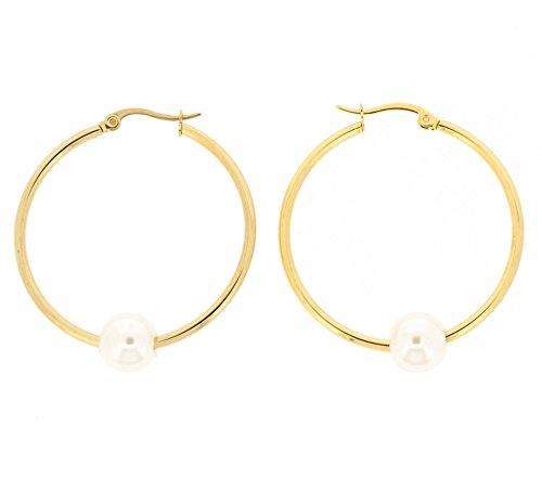 Edforce Women's 18k Gold Plated 10mm Simulated Pearl Hoop Earrings, (35mm)