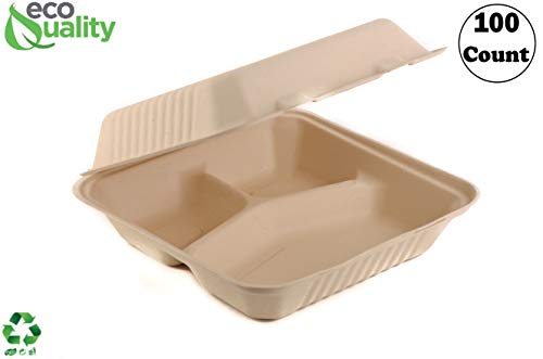 [100 PACK] 9 Inch 3-Compartment Compostable Hinged Take Out Food Container - Sugarcane Bagasse, Tree Free - Restaurant Supplies, Microwavable, Bidodegradable, Recyclable, Heavy Duty (Rectangle - Clam)